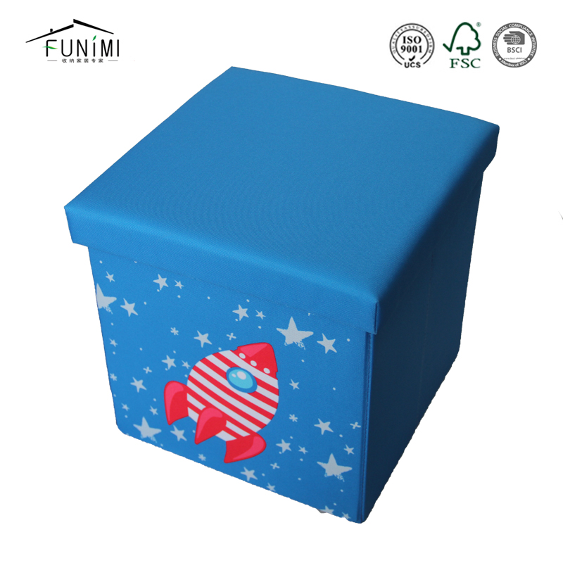 Printing Folding Storage Non Woven Kid Ottoman Stool
