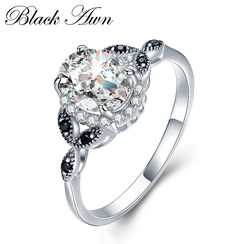 [BLACK AWN] 925 Sterling Silver Fine Jewelry Trendy Engagement Bague for Women Wedding Ring C038 фото