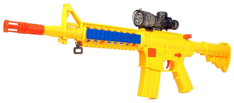 YK Night Hawk M16+ Spring Powered Toy Foam Dart & Water Polymer Ball Shooting Gun w/ Gun, 10 Suction Darts, Clear Water Polymer Balls
