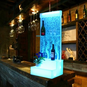 Bar furniture acrylic wine bar display cabinet with water bubble wall led glow furniture