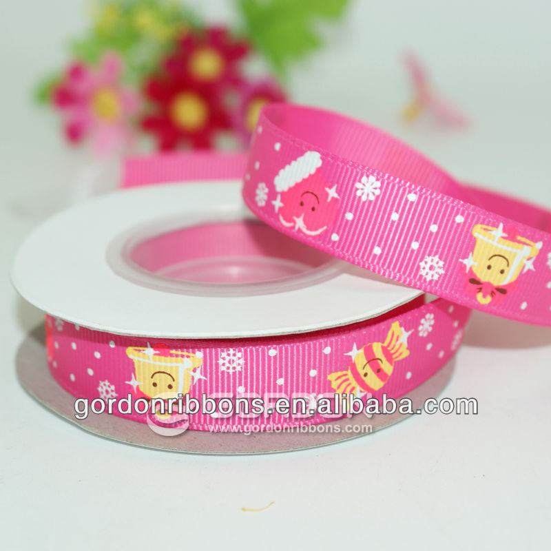 printed candy on grosgrain ribbon