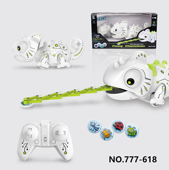 2.4G Remote Control Eat insect Hungry Robotic Plastic Animal Toy Chameleon with Sound