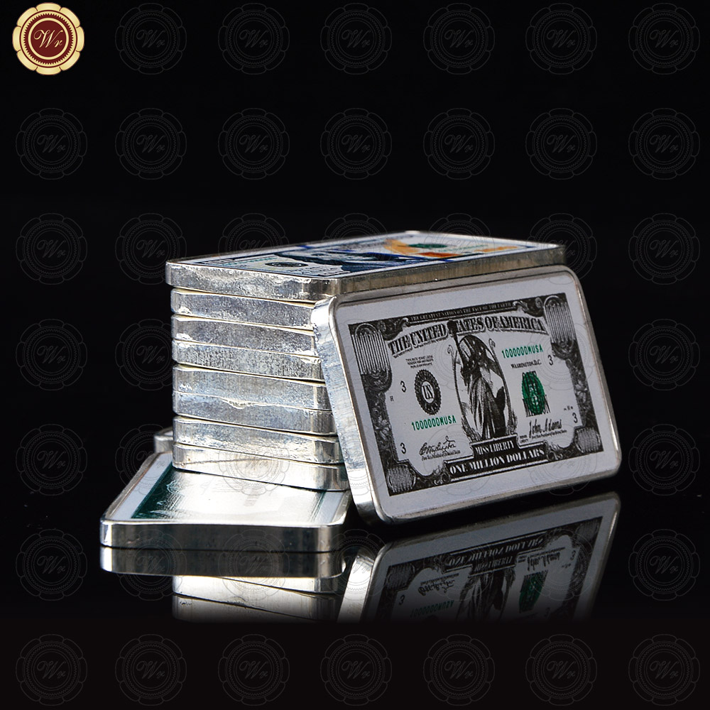 Business Souvenir Gifts One Dollar 999.9 Silver Plated Metal Bar Art Crafts