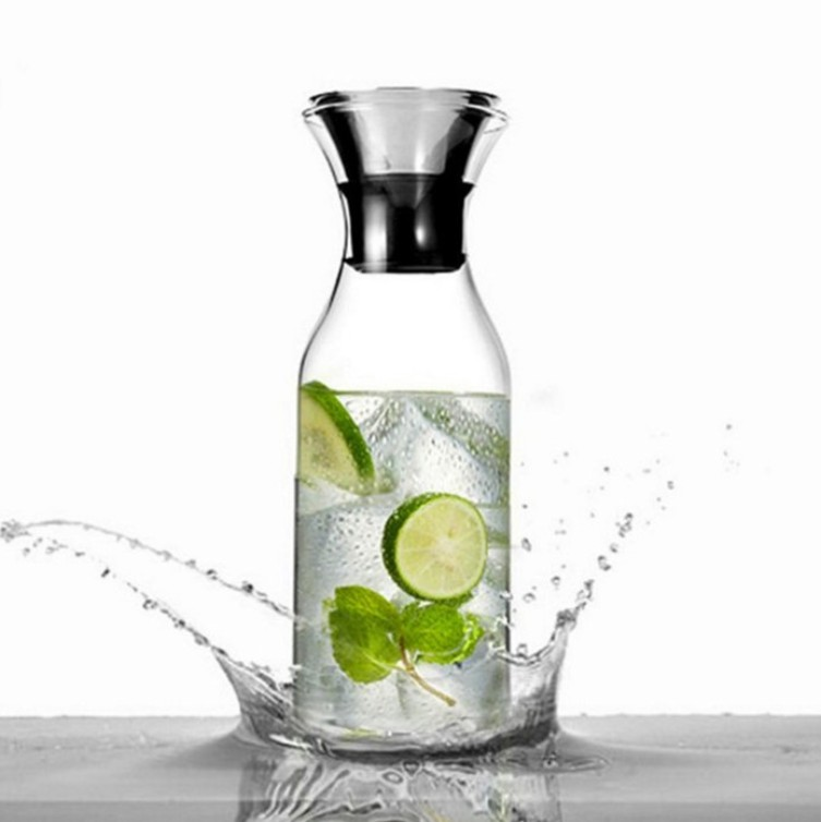 1000ml Cold and Hot Pyrex Glass Water Pitcher Dispenser with Refrigerator Water Dispenser Bottle Glass Carafe