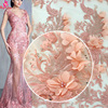 High Quality 3D Flowers with Full Sequins and Stones Peach French Net lace Fabrics