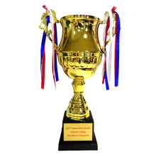 Factory Wholesale Wood Base Sport Metal Engraving Soccer Trophy Award With Box