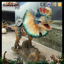 DW-0946 2017 New realistic artificial animatronic dinosaur dilophosaurus for sale