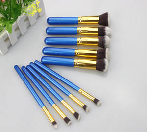 10pcs private label make up brushes makeup brush set with blue metal colors