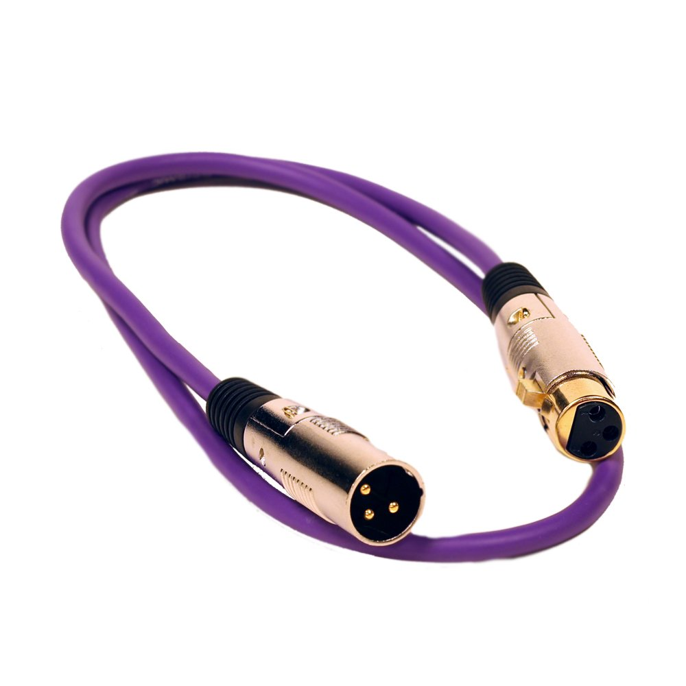 Seismic Audio SAPGX-3Purple Premium 3' XLR Patch Cable Cord - 3 Pin XLRF to XLRM Mic Cord, Purple