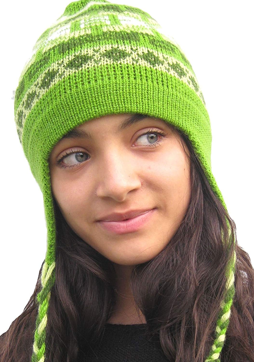 97be91965c5 Get Quotations · Custom Made Order - Handmade Thin Alpaca Hat with Earflaps  Apple Green