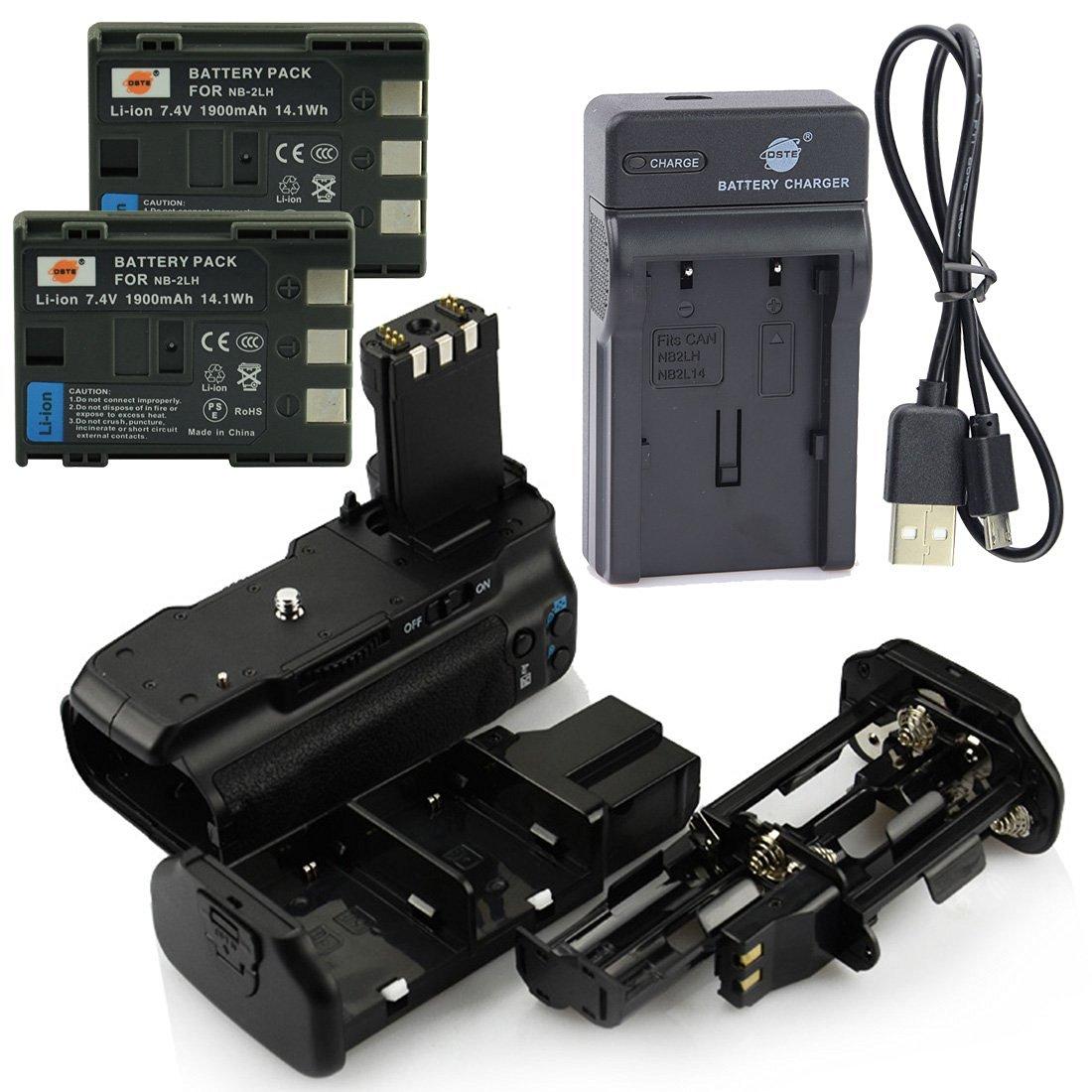 DSTE BG-E3 Battery Grip + 2x NB-2LH Battery + USB Charger for Canon EOS 350D 400D
