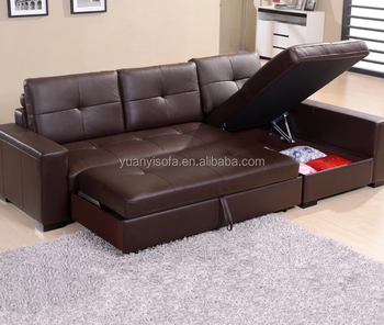 Yb2226 Multifunctional Corner Leather Sofa Bed With Storage Box ...