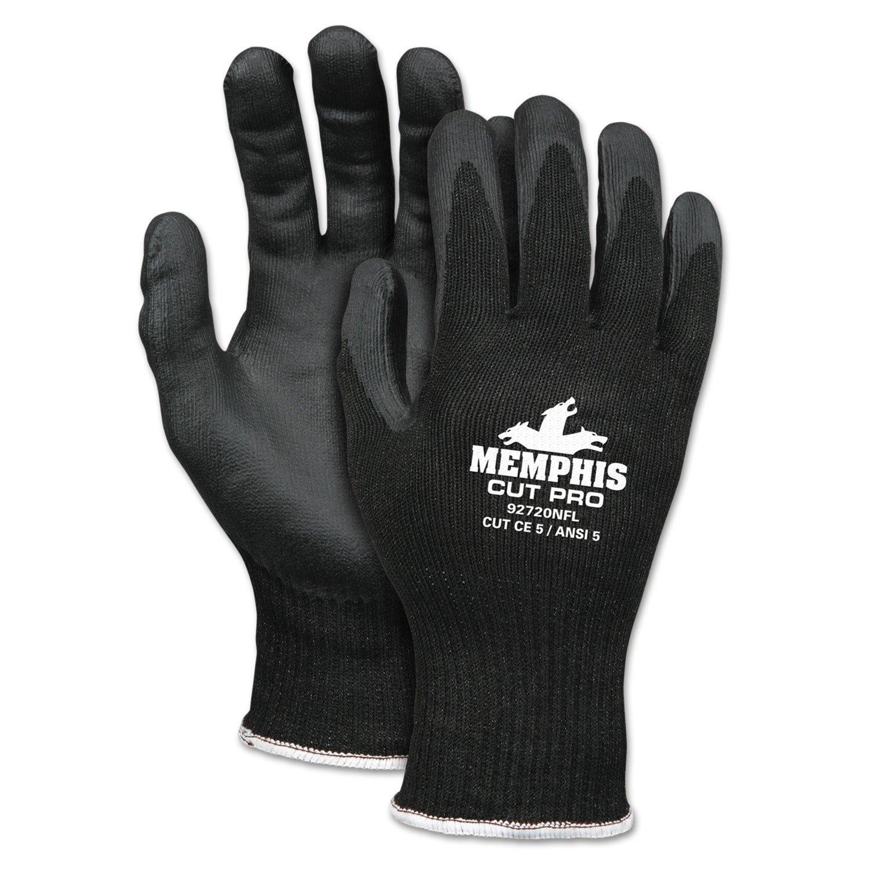 MCR Safety 92720NFM Memphis Cut Pro Gloves, 10 Gauge Black HPPE, Black Nitrile Foam Coating, Medium, 1-Pair