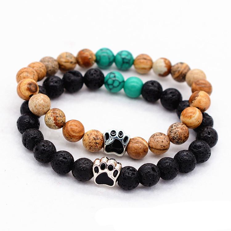 New Arrival bead bracelets Natural tiger eye beaded bracelets volcanic stone drops dog paw bracelets фото