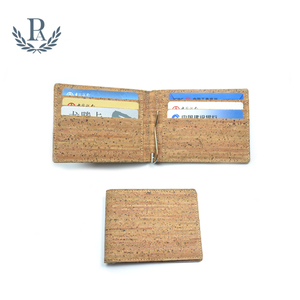 Mens rfid blocking slim natural wood cork leather wallet