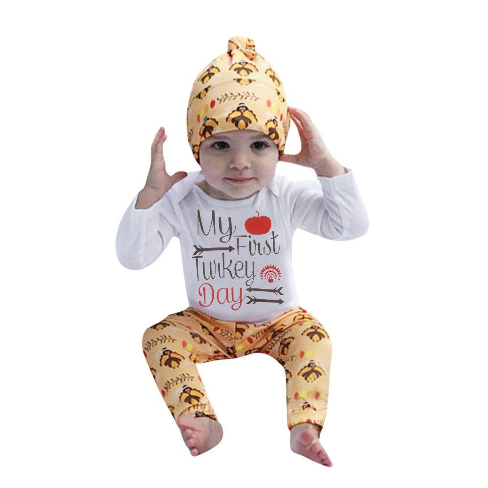Yihaojia 3PCS Thanksgiving Outfits Set Newborn Infant Baby Boy Girl Letter Romper Tops+Pants 3-18M (age: 2-3 month, White)