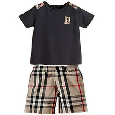 Boys 2Pcs Sports Set Short Sleeves T shirt Tops Plaid Shorts Kids Outfits 2 7Y