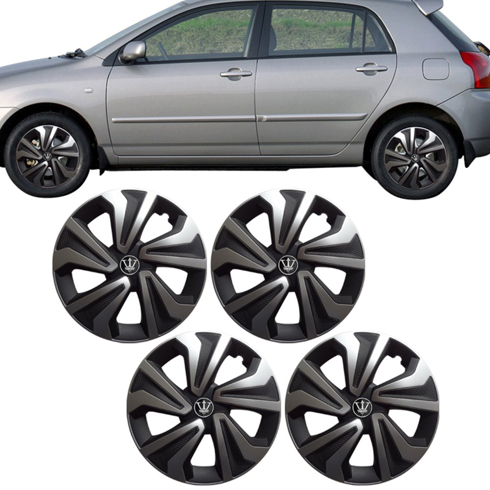 Universal 15 Inch Oe Replacement Wheel Cover Hubcaps Rim Black Silver 4pc