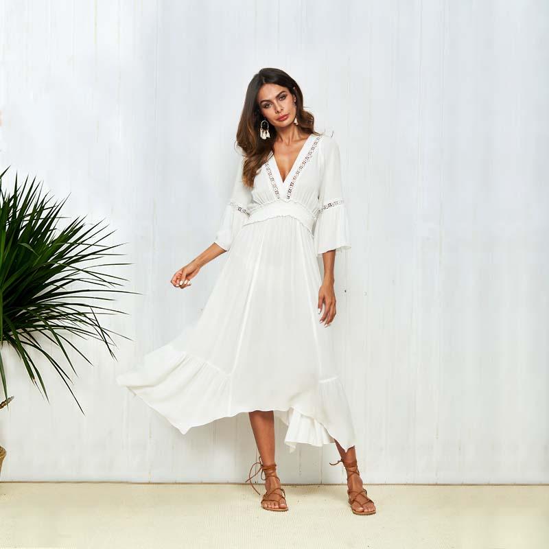 27d30bfd7 Venta al por mayor vestidos largos de color blanco-Compre online los ...