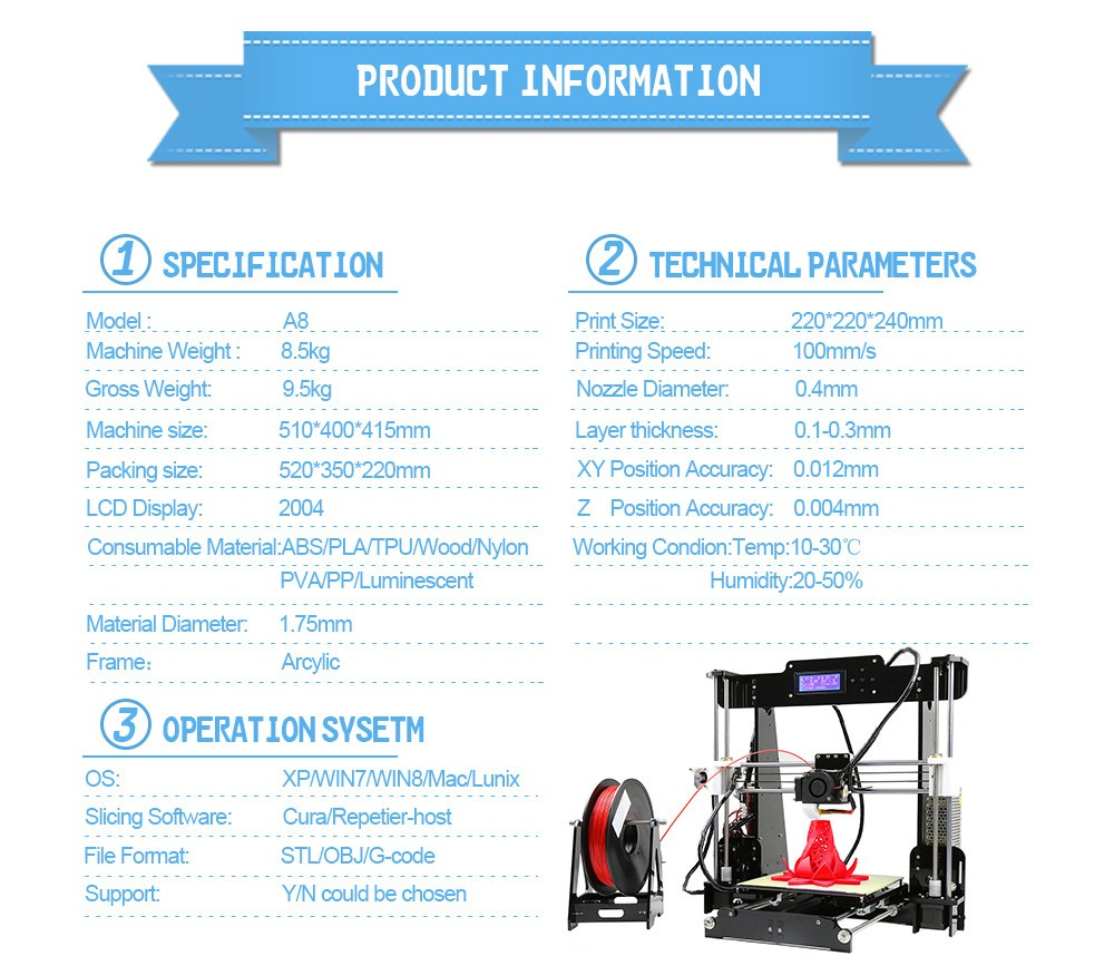 2018 Upgraded Reprap Prusa i3 Digital Anet A8 3D Printer DIY 3D Printer Kit