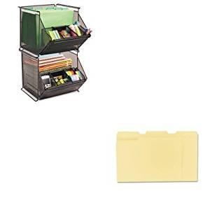 KITSAF2164BLUNV12113 - Value Kit - Safco Onyx Stackable Mesh Storage Bin (SAF2164BL) and Universal File Folders (UNV12113)