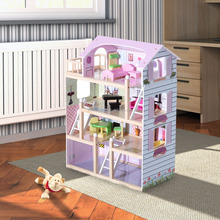 mini size wood kids doll house toy with furniture