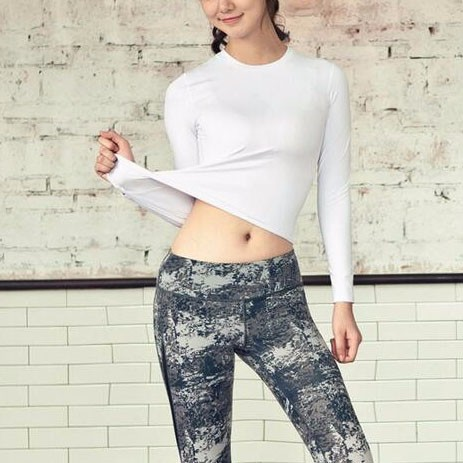 Korea Long Sleeve Shirt Print Legging Colorful Women Fitness Workout Clothes