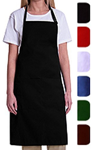 Bib Aprons-MHF Aprons-1 Piece Pack-2 Waist Pockets- New Spun Poly-commercial Restaurant Kitchen-(Black)