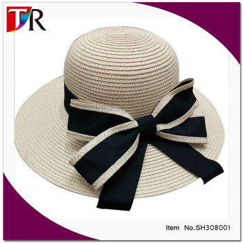 2017 hot selling big bowknot paper straw floppy hat women sombrero straw hat  wholesale 30cd182f746