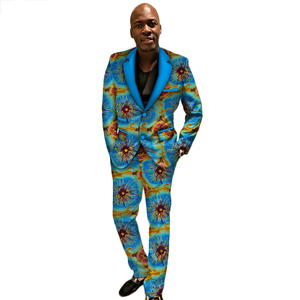 8077674a8b5 2018 New Arriving African Wax Print Men Suit Dashiki Top and Trouser Set  Bazin Plus Size Traditional African Clothing WYN389