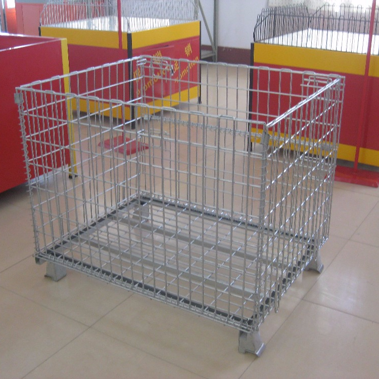 Warehouse stackable wire mesh metal storage pallet cage