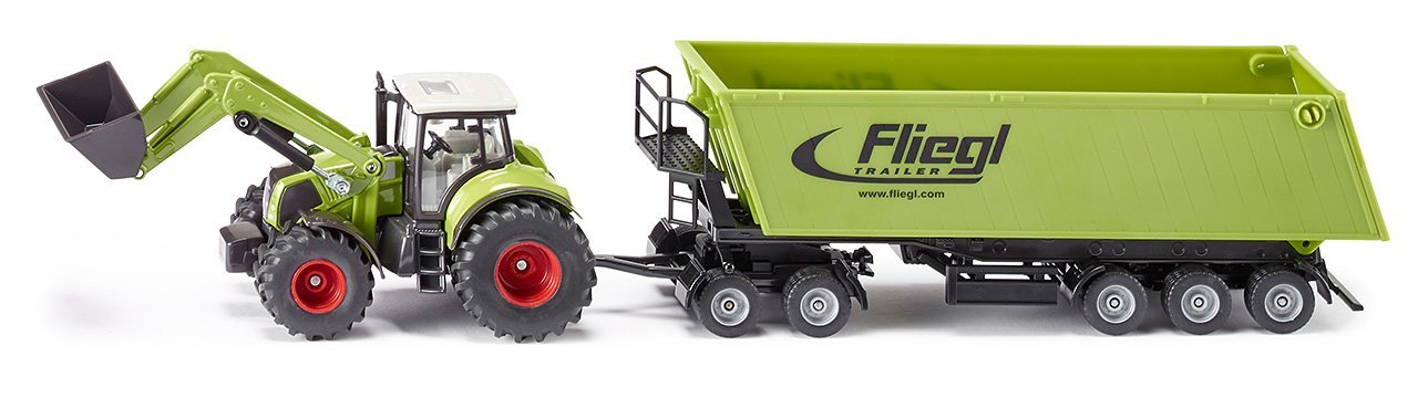 1:50 Siku Claas With Front Loader, Dolly & Tipping Trailer