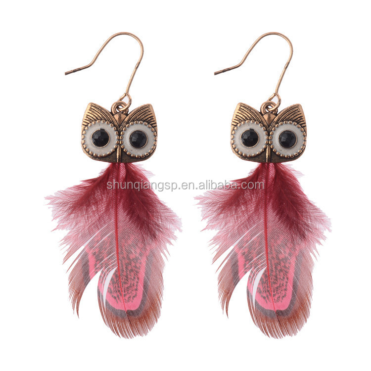 Feather Owl Earrings Supplieranufacturers At Alibaba