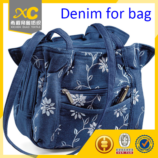 Print twill polyester cotton denim fabric for bag