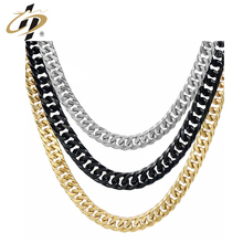 High Quality Men Chain Punk Black Gold Sliver Metal Cuban Necklaces