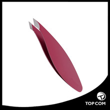 Combo Tip Tweezer, Slanted & Pointed, Extra Wide Grip, For Fine Hair & Eyebrow Design, Red