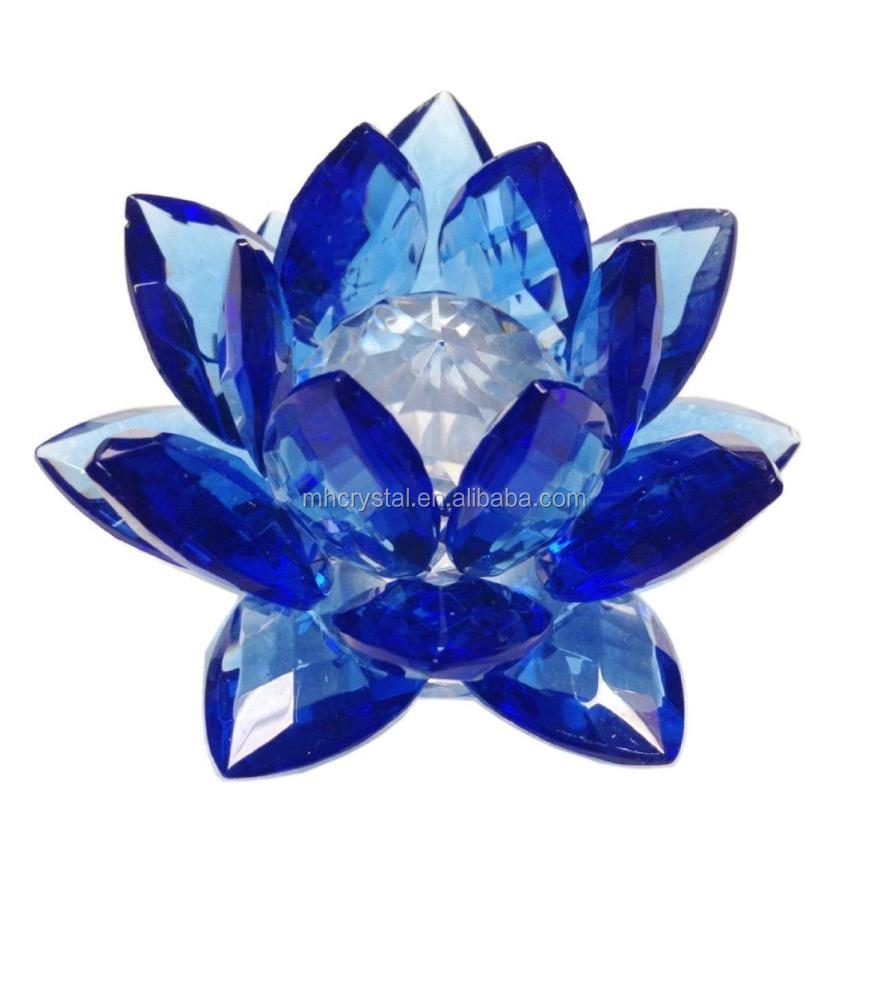 Blue Crystal Lotus Flower Mh H0068 Buy Blue Glass Flowercrystal
