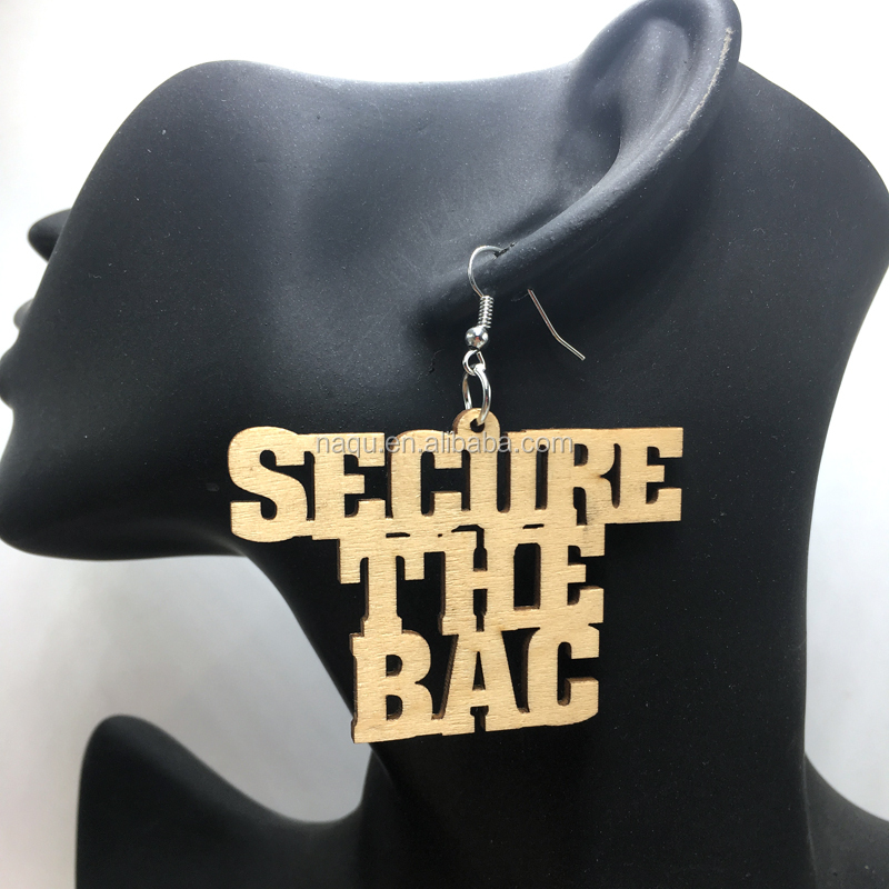 Laser Cut Secure The Bag Wood Earrings