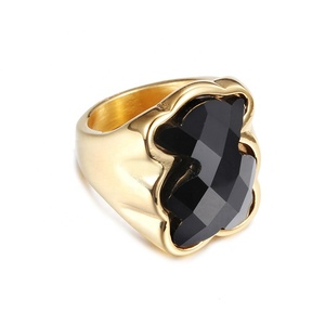 Hot Sale Bear Shaped Stainless Steel Gold Plated Engagement Ladies Black Diamond Ring