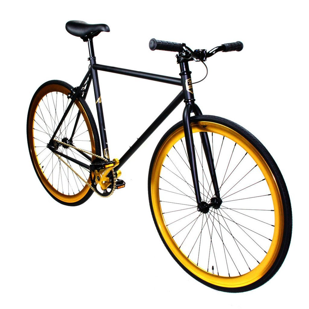 Zycle Fix Fixed Gear Series- ZF Black Gold Model Matte Black Frame - FREE inner tubes with purchase (Chaoyang Brand)