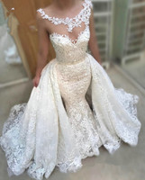 Vestido de noiva Beaded Lace Afraic Bridal Gown Removable Over Skirt 2019 Appliqued American High Neck Mermaid Wedding Dress