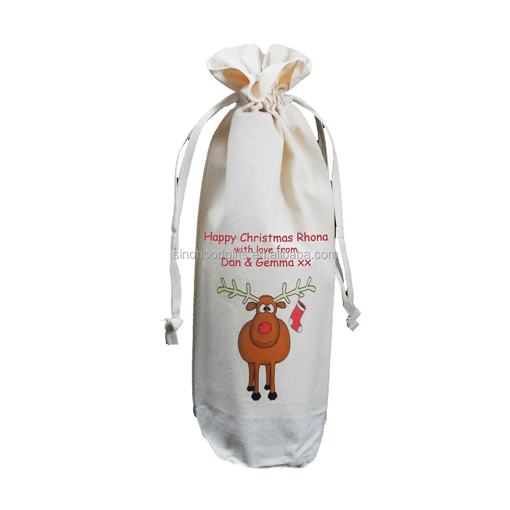 Cool Durable Personalized Designed Wine Gift Cotton Bags 2015