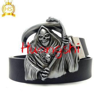 estilo de moda nuevo estilo de 2019 colores y llamativos Punk Rock Cowboy Mens Belts With Skull Reaper's Scythe Big Metal Buckle  Cinturon Hombre Cinto Masculino Riem Kemer Cintura Uomo - Buy Pu Skull ...