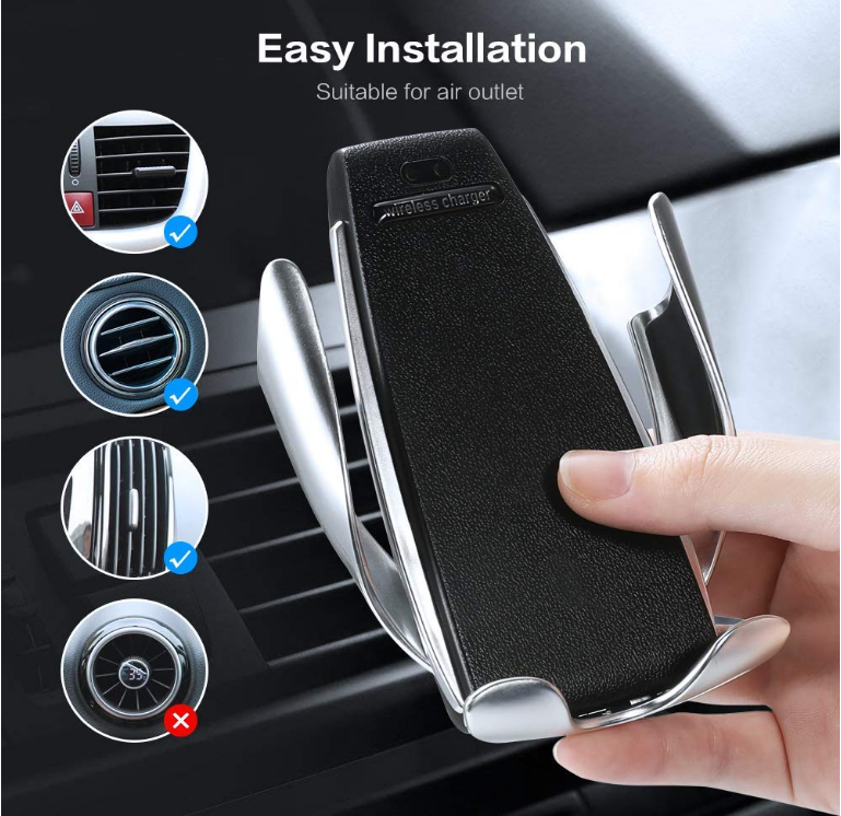 For Samsung S10 fast wireless Car charger S5 smart sensor auto clamping air vent mobile phone wireless charger mount holder 10W