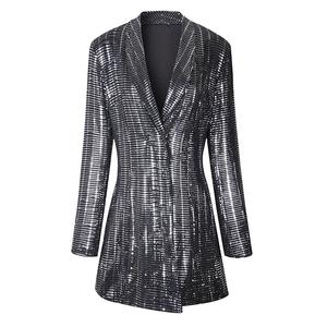 Silver Sequin Womans Long Sleeve Blazer Dress Night Dress HIGH STREET Bling Suit Sequined Evening Party Winter Dress