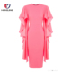 women wear round-neckline flutter sleeves casual pink lined shift Sleeve short knee length back zipper evening party sexy Dress