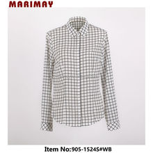 Latest design long sleeve womens semi formal tops and blouses white and black check shirt