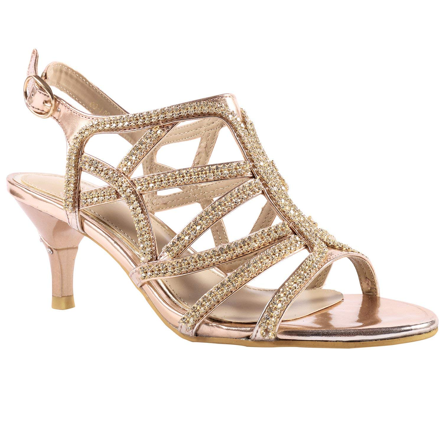 d4442ea53d3e Get Quotations · Lara s Womens Rhinestone Prom Dress Shoes Wedding Sandals  Low Heel