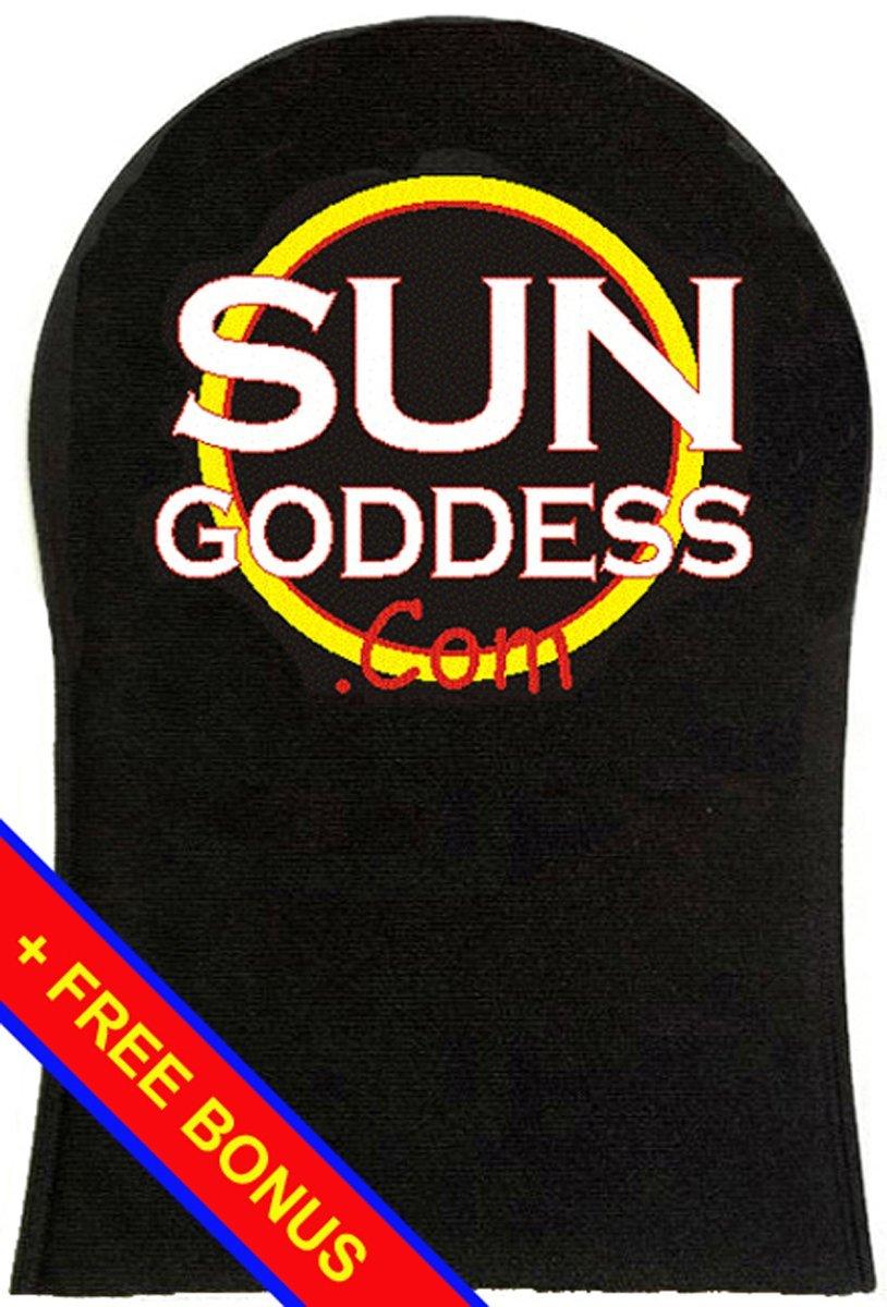 Sun Goddess - Sunless Self Tanning Applicator Mitt + FREE BONUS: (3) Sunless Self Tanner Samples + (1) Pair of Sunless Self Tanning Applicator Gloves - Best Sunless Self Tanning Lotion / Mitt / Gloves