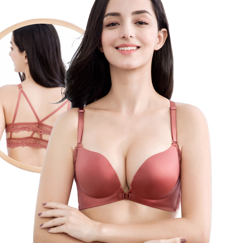d05906c987049 Women Open Cup Sexy Lace Front Closure Breast Seamless Push Up Ladies Young  Girls Teen Brassiere